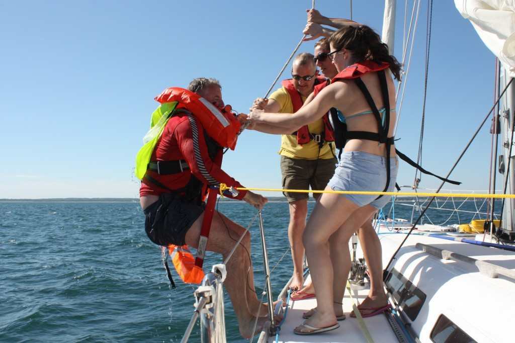 Practising man overboard and recovery off Long Island