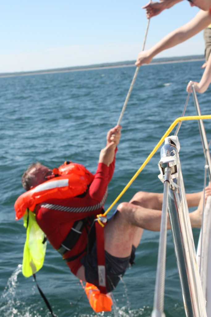 Man-overboard practice and recovery - heaviest man in Long Island Sound