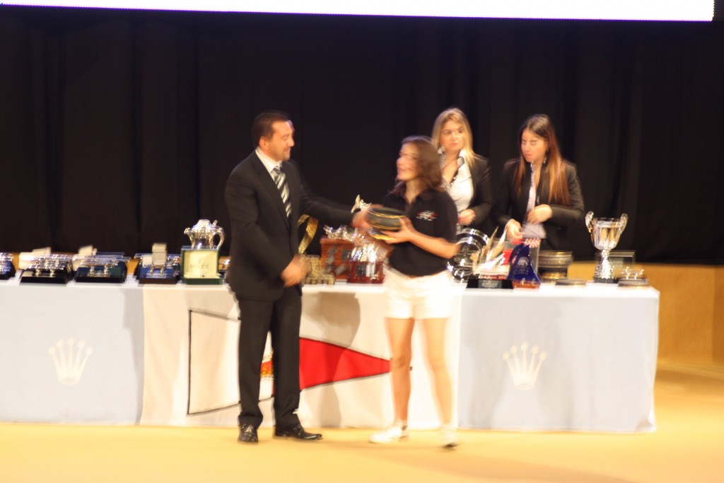 Grace Payne-James receiving youngest crew award RMSR 2011