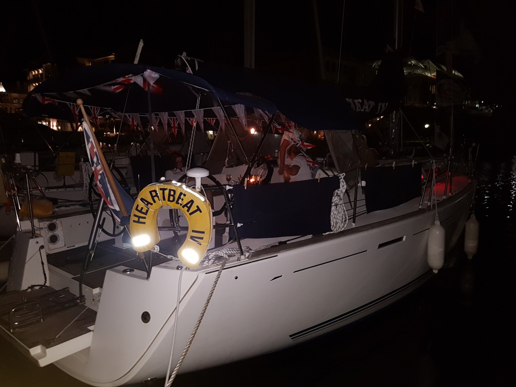 Night view of HB IV all flagged up