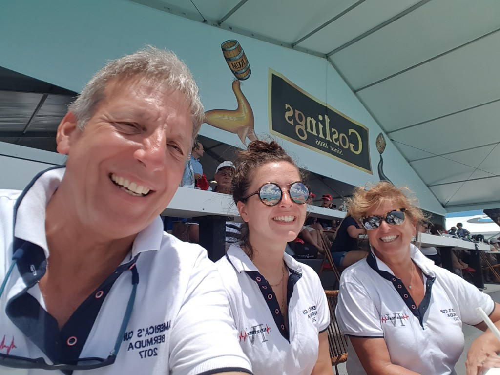 Team P-J at the Gosling's Stand - final day of the  35th America's Cup - we woz there