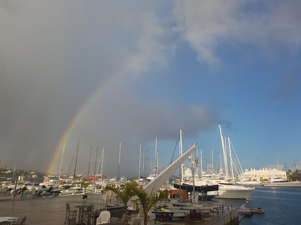 Rainbow over the Royal Bermuda Yacht Club